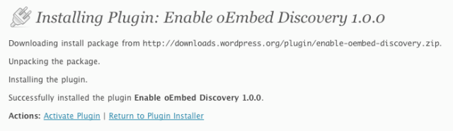 WordPress Enable oEmbed Discovery Plugin