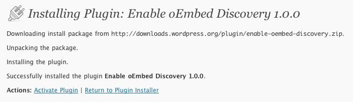 WordPress Enable oEmbed Discovery Plugin