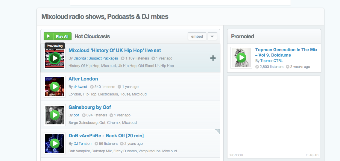 The new Preview feature lets you listen to a sample of a Cloudcast